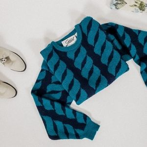Vintage sweater crew neck pullover teal abstract